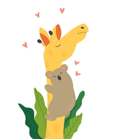 Poster with cute koala hugging smiling giraffe