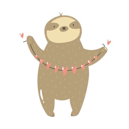 Funny sloth holding garland of hearts. Vector illustration of a cute animal