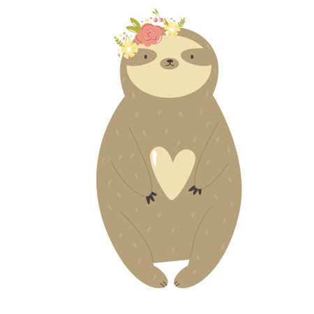 Funny sloth girl in a flower wreath. Vector illustration of a cute animal