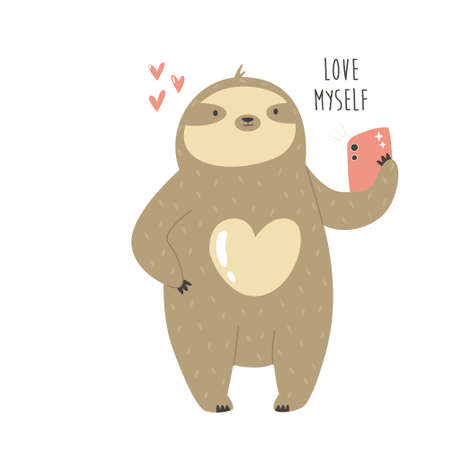 Funny sloth taking selfie and text LOVE MYSELF. Çizim