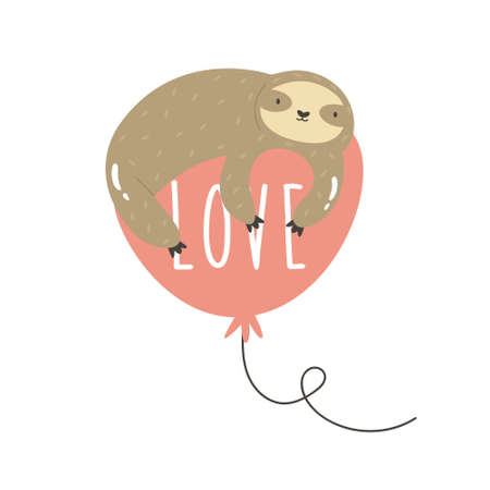 Funny sloth lying on a balloon with text Love. Çizim