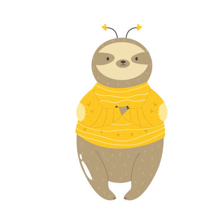 Funny sloth in a bee costume. Vector illustration Stok Fotoğraf - 163403418