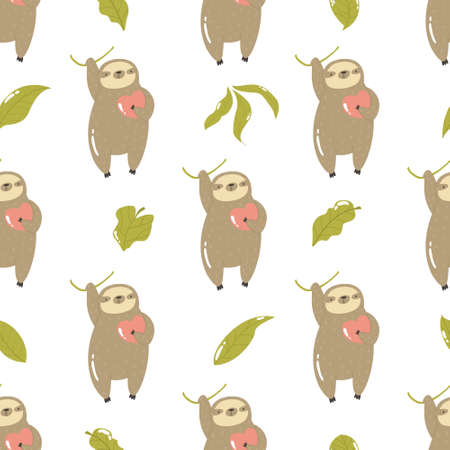 Seamless pattern with cute sloths hanging on a tree.