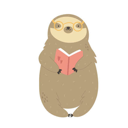 Vector illustration of a cute funny sloth with book.