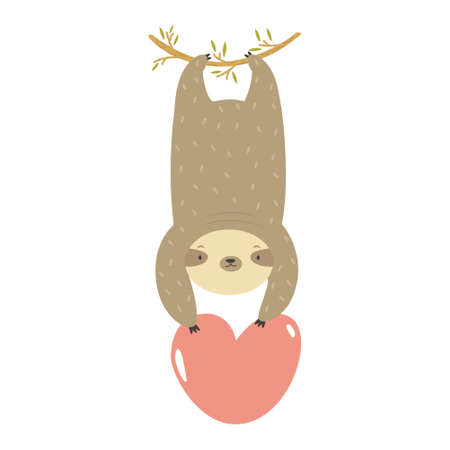 Funny sloth hanging on a tree with heart in the paws.
