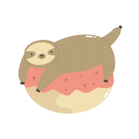 Cute sloth lying on a donut. Vector illustration of a funny animal