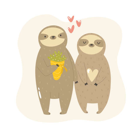 Funny illustration of two sloths in love.