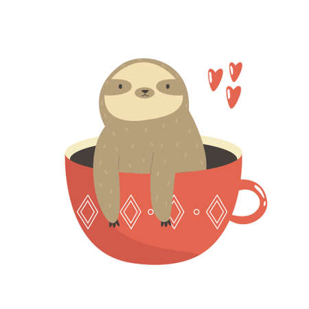 Funny sloth sitting inside of red mug. Vector illustration of a cute animal.