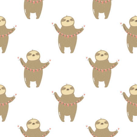 Seamless pattern with cute sloths holding garland of hearts. Vector illustration with funny characters Ilustração
