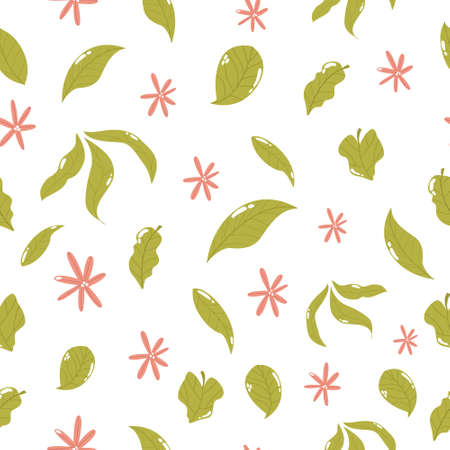 Seamless pattern with green leavrs and flowers, Çizim