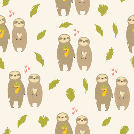 Seamless pattern with cute sloths in love. Çizim