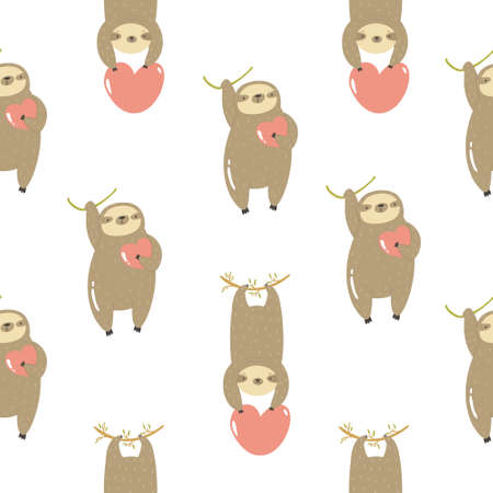 Seamless pattern with cute sloths hanging on a tree. Vector illustration with funny characters. Ilustração
