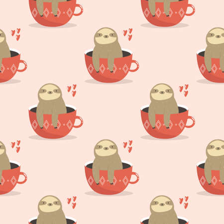 Seamless pattern with cute sloths sitting in cups. Vector illustration with funny characters. Ilustração