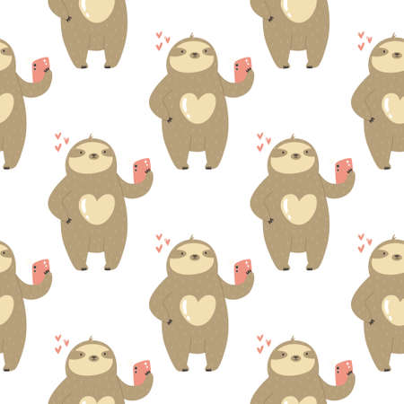Seamless pattern with cute sloths taking selfies. Vector illustration with funny characters Ilustração