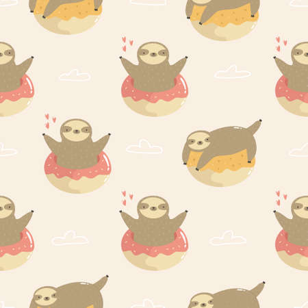 Seamless pattern with cute sloths jumping of donuts. Vector illustration for textile, greeting cards, fabric, gift boxes