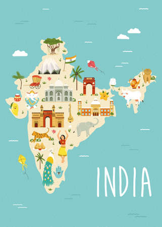 Illustrated map of India with famous landmarks, symbols and animals. Vector design for tour guides, leaflets, books, souvenirs, travel posters.