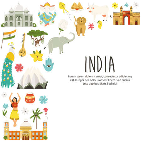 Travel poster with famous destinations and landmarks of India. Abstract design, explore India concept image.