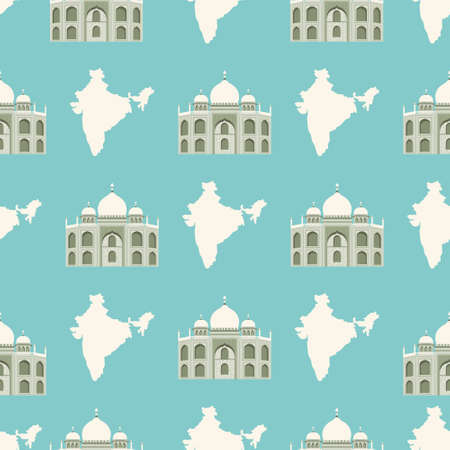 Seamless pattern with Tadj Mahal of Agra and map of India. Vector illustration, design. Ilustração