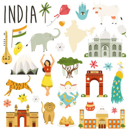 Set of famous symbols, landmarks, animals of India. Vector flat collection.