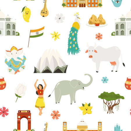 Seamless pattern with famous symbols, landmarks, animals of India. Vector illustration for greeting cards, placards, wallpaper, textile.