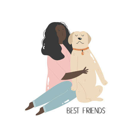Young girl hugging her dog. Best friends concept.