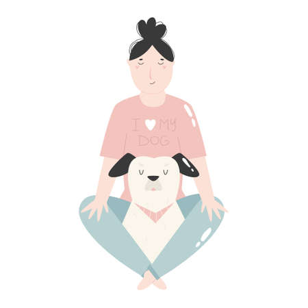 Young girl sitting with her dog. Best friends concept. Vector Illustration