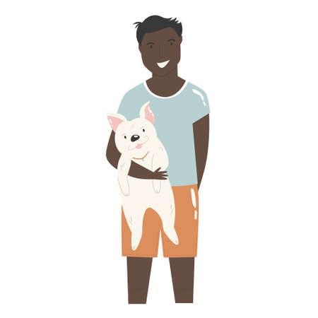 Young boy holding his dog friend. Best friends concept. Çizim