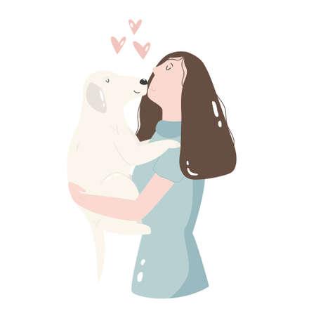 Yong woman kissing her dog friend. Best friends concept.