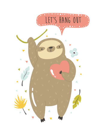 Cheerful sloth hanging on a palm branch. Funny vector illustration Çizim