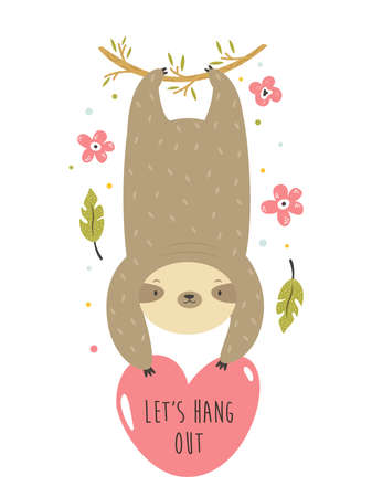 Cheerful sloth hanging on a palm branch. Funny vector illustration Stok Fotoğraf - 164897339