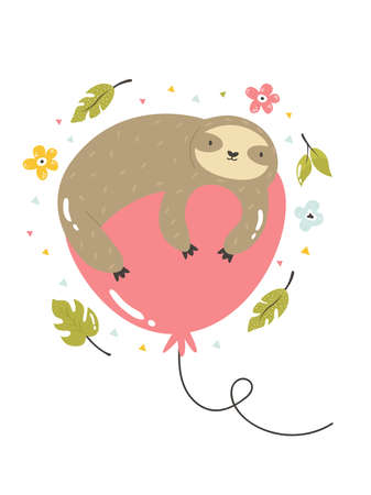 Funny poster with tropical leaves and sloth lying on a balloon