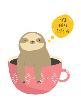Funny sloth sitting inside of mug. Vector illustration of a cute animal. Çizim
