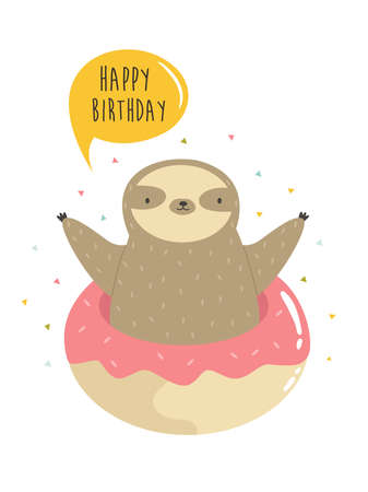 Cute sloth jumping of donut. Vector illustration of a funny animal. Çizim