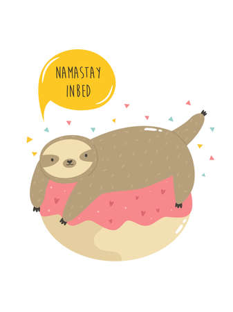 Cute sloth on a donut. Vector illustration of a funny animal