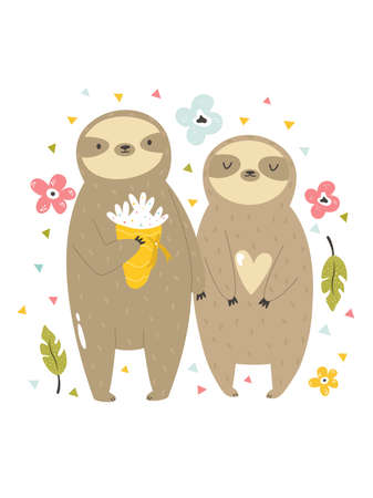 Funny illustration of two sloths in love. Stok Fotoğraf - 164984781