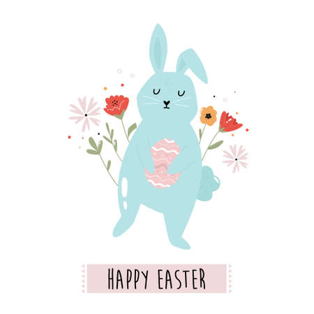 Happy Easter vector illustration with cute rabbit and flowers. Holiday composition. Çizim