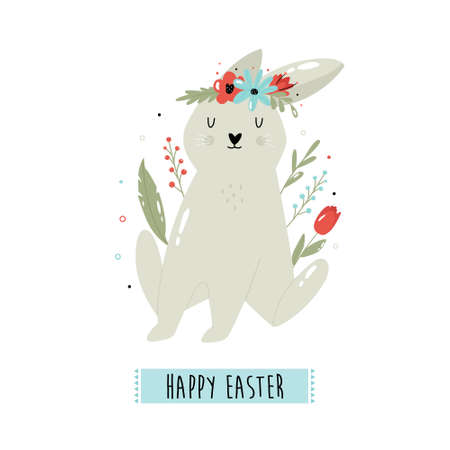 Happy Easter vector illustration with cute rabbit and flowers. Holiday composition. Ilustração