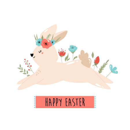 Happy Easter vector illustration with cute rabbit and flowers Çizim