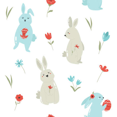 Seamless pattern with cute rabbits. Easter holiday decoration Stok Fotoğraf - 165451115