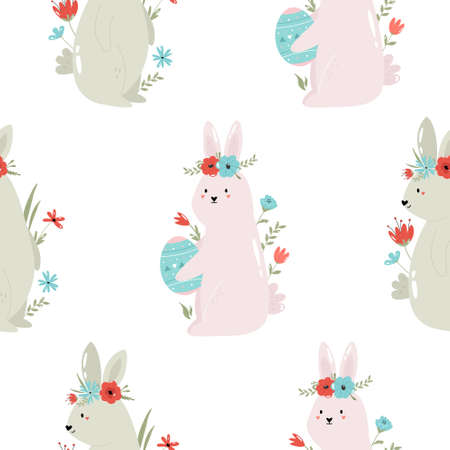 Seamless pattern with cute rabbits. Easter holiday decoration
