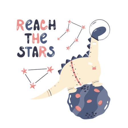 Vector illustration of a funny dinosaur astronaut, cosmic objects and text REACH THE STARS. Perfect for greeting cards, wall arts, designs for baby prints. Çizim