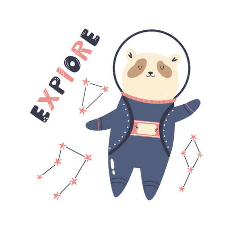 Vector illustration of a funny panda bear astronaut, constellations and letteing text EXPLORE. Perfect for greeting cards, wall arts, designs for baby prints.