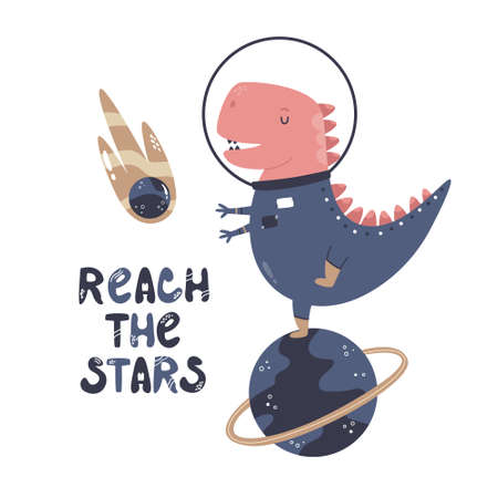 Vector illustration of a funny dinosaur astronaut and text REACH THE STARS. Perfect for greeting cards, wall arts, designs for baby prints.