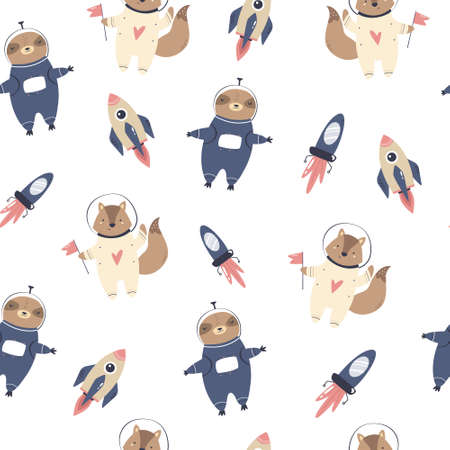 Cosmic seamless pattern with cute funny astronauts sloths and foxes, rockets ans space jets
