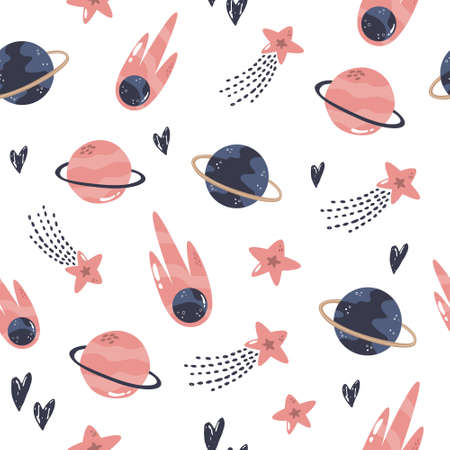 Seamless pattern with cosmic objects planets, stars, comets. Vector illustration for different designs, gift boxes, prints, wallpaper, wrapping paper