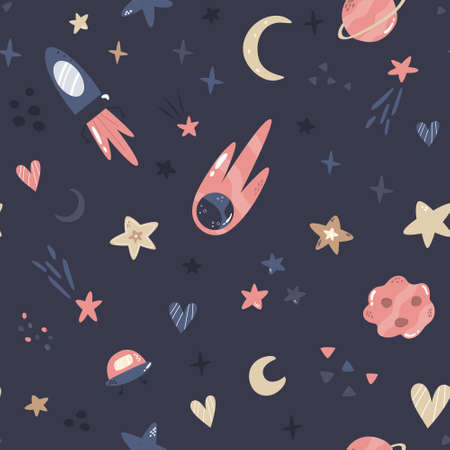 Seamless pattern with cosmic objects planets, stars, comets, rocket, UFO. Vector illustration for different designs, gift boxes, prints, wallpaper, wrapping paper