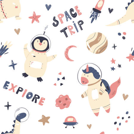 Vector seamless pattern with cute astronauts unicorn, penguin, dinosaur and space objects Ilustração