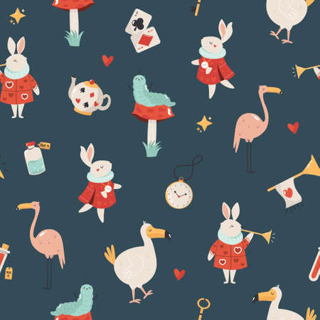 Seamless pattern Colorful compositions with characters illustration
