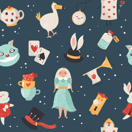 Colorful compositions with characters illustration