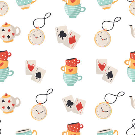 Seamless pattern with symbols Colorful compositions with characters illustration 向量圖像
